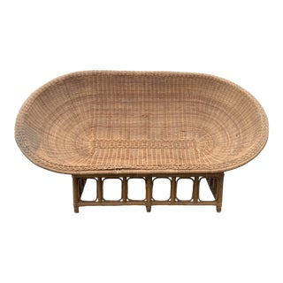 1970s Vintage Rattan & Bamboo Scoop Egg Lounge For Sale