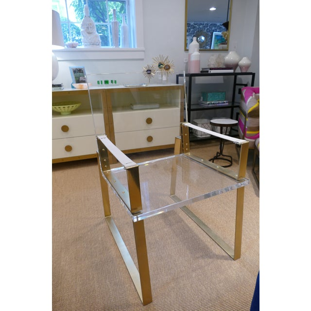 2010s Century Lucite & Brass Halo Chair For Sale - Image 5 of 12