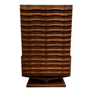 Mid Century Modern Ornate Brutalist High Chest Wardrobe For Sale