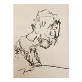 Image of Jose Trujillo - Original Charcoal on Paper Sketch Drawing 18x24 Horse Equestrian For Sale