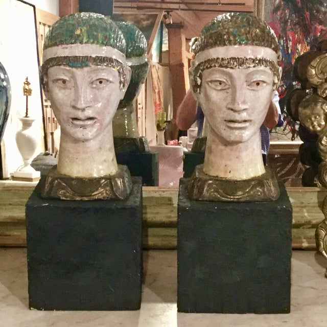 Pair of Unusual Mid Century Glazed Pottery Busts For Sale - Image 11 of 11