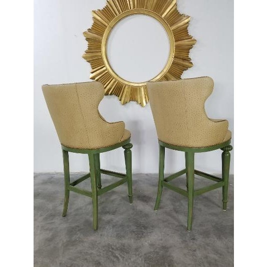 Hickory Century Ostrich Barstools For Sale - Image 10 of 13