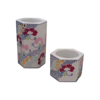 Danish Porcelain Candle Holders - A Pair For Sale