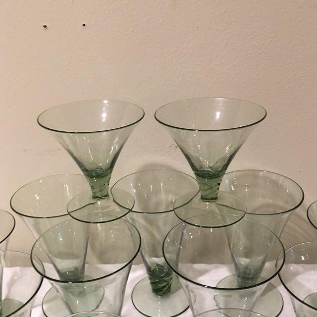 Vintage Green Holiday Glasses - Set of 21 For Sale - Image 5 of 5