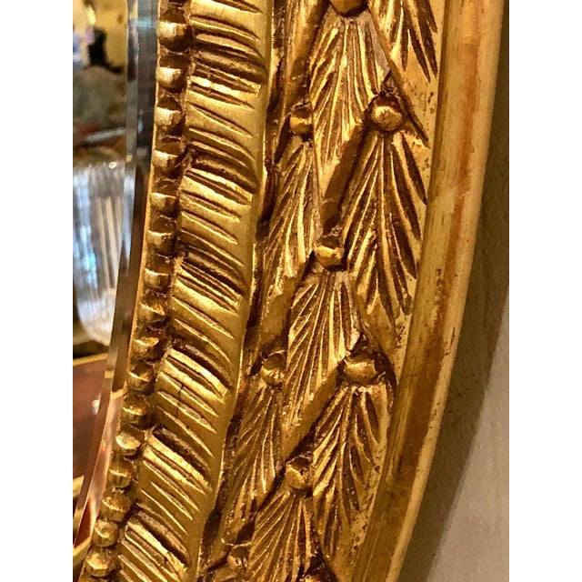 Gold Fine Antique French Oval Gilt Wooden Wall or Console Mirror For Sale - Image 8 of 9