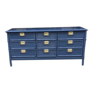 1970s Vintage Campaign and Faux Bamboo 9-Drawer Dresser For Sale