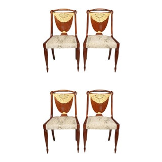 Set of Four Art Deco Side Chairs by Pierre Lahalle, France For Sale