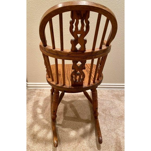 Vintage English Windsor Oak Childrens Rocking Chair For Sale - Image 4 of 6