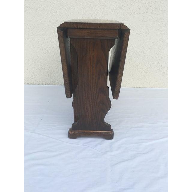 Mid 20th Century Small Petite Mini Vintage Mid-Century Wood Drop Leaf Side Table For Sale - Image 5 of 13