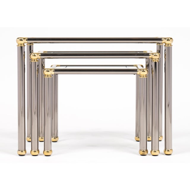 Vintage Set of Gunmetal and Brass Nesting Tables For Sale In Austin - Image 6 of 11