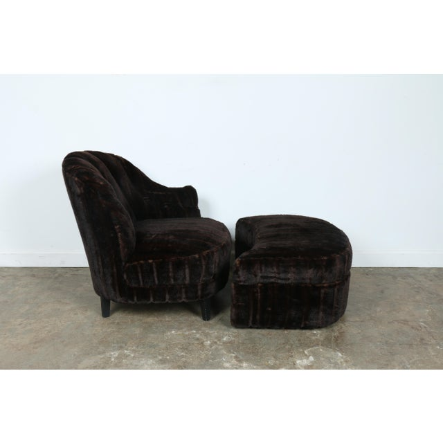 Furry Lounge Chair with Ottoman - Image 9 of 11