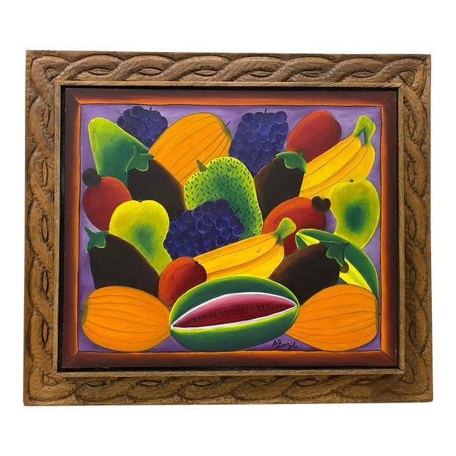 """Haitian Artist Alberoi Bazile """"Fruit"""" Still Life Oil Painting in Hand Carved Frame C.1970 For Sale"""