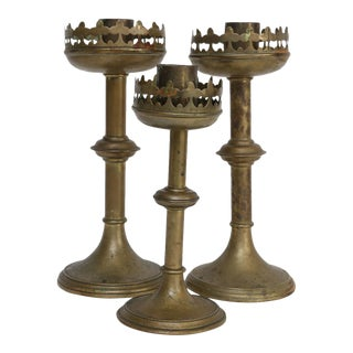 Antique French Brass Altar Candlesticks - Set of 3 For Sale
