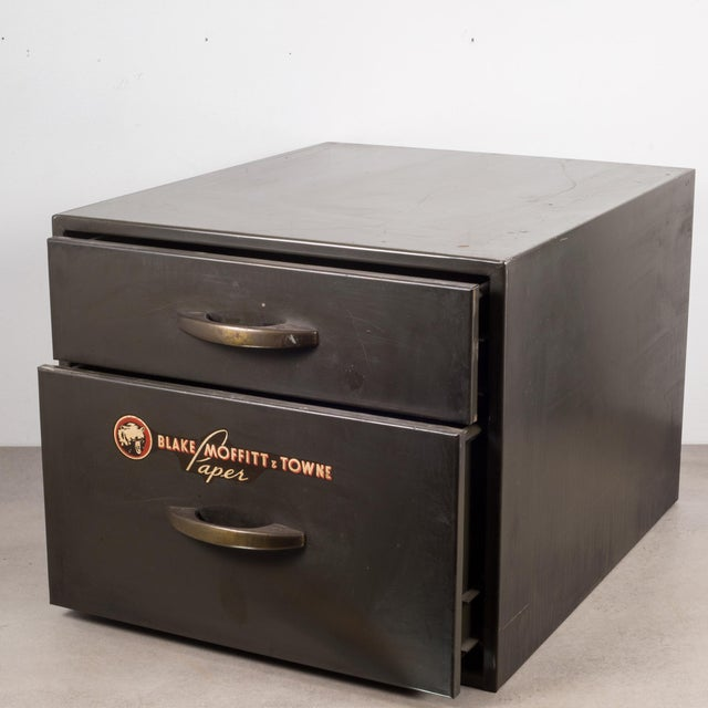 Industrial Industrial Factory Two Drawer Cabinet With Brass Pulls C.1940 For Sale - Image 3 of 10