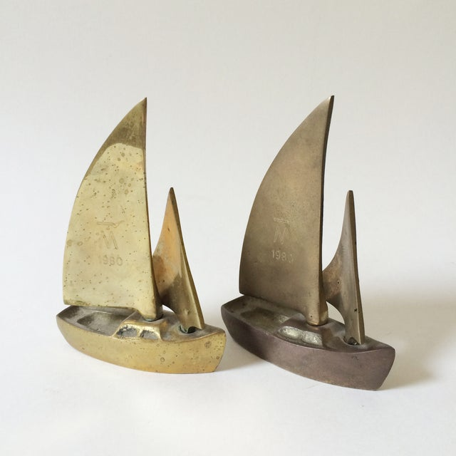 Mid-Century Brass Sailboat Figurines - A Pair - Image 2 of 6