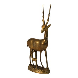 Brass Antelope and Baby Fawn Figurine For Sale