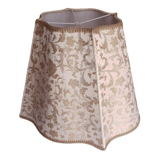 Italian 'Fancy Rectangular' Lampshade in Rubelli Gold/Ivory Silk Jacquard Fabric & Gold Trim For Sale