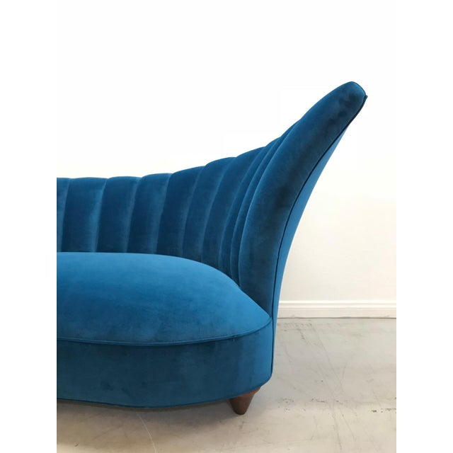 Stunning Art Deco Asymmetrical channel back sofa professionally restored with high quality materials.