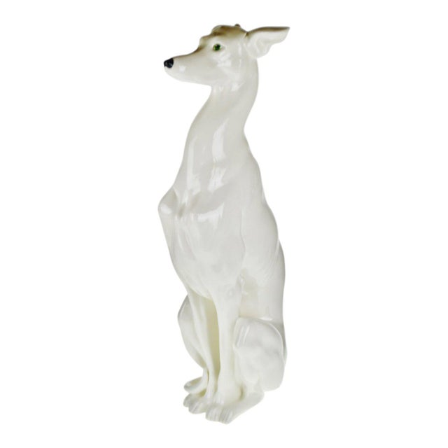 """Vintage Italian Ceramic Whippet Greyhound 28"""" Dog Sculpture For Sale - Image 13 of 13"""