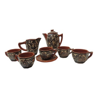 Vintage Brown and Orange Talavera Mexican Terracotta Artisanal Coffee Set For Sale