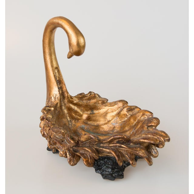 Hollywood Regency Italian Gilt Swan Decorative Bowl Soap Dish For Sale - Image 3 of 7