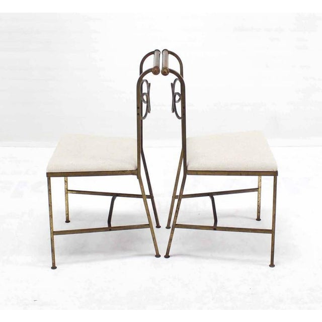 1940s Set of Six Rare Brass Dining Side Chairs in Style of Jean Royère For Sale - Image 5 of 8
