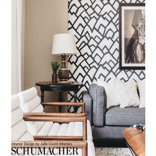 Sample - Schumacher Zimba Stripe Geometric Wallpaper in Black Preview