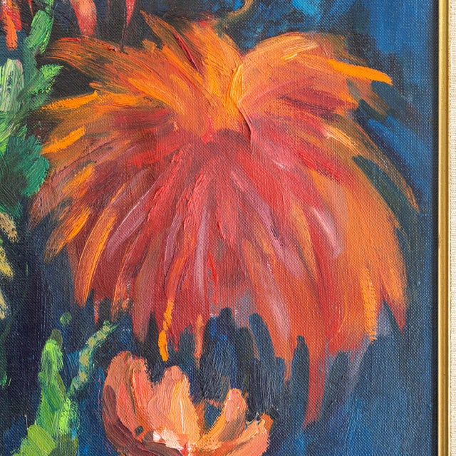 1960s 1962 Signed Still Life Oil Painting of Flowers For Sale - Image 5 of 8