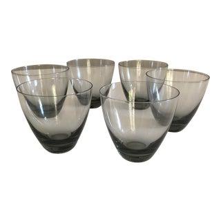 Vintage Mid-Century Danish Holmegaard Per Lutken Smoked Cocktail Whisky Glasses - Set of 6 For Sale