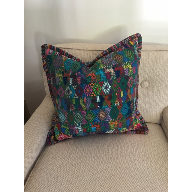 Teal Original Guatemalan Textile Cushion Case in Teal For Sale - Image 8 of 10