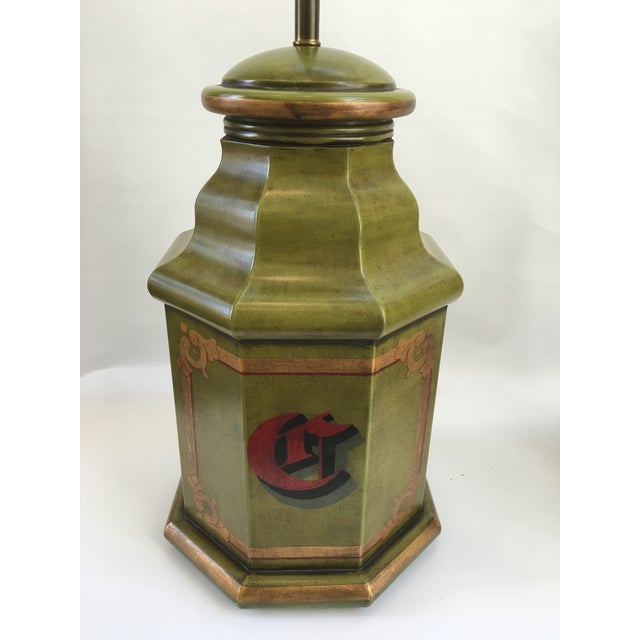 Green Vintage English Tole Canister Monogram Table Lamps - A Pair For Sale - Image 8 of 10