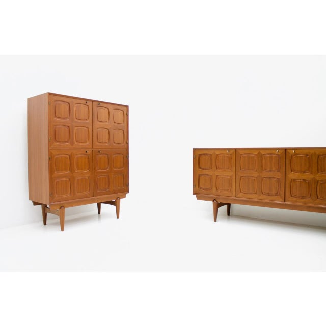 1960s Graphic Teak Highboard by Rastad & Relling for Bahus, Norway 1960s For Sale - Image 5 of 7