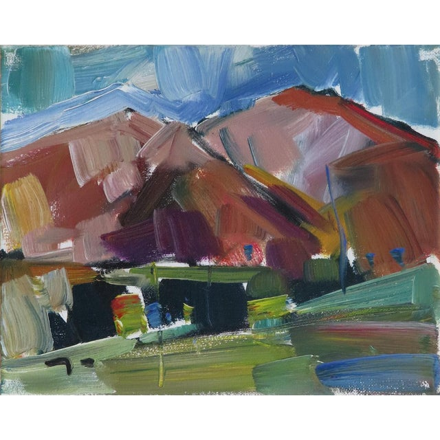 Contemporary Expressionist Style Mountainous Landscape Oil Painting by Jose Trujillo For Sale