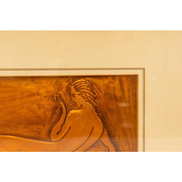 1930s American Art Deco Embossed Copper Plate Bas Relief of a Reclining Nude Female 1930s For Sale - Image 5 of 9