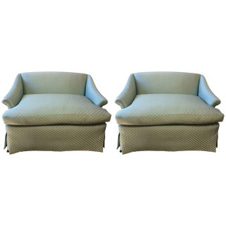 Movie Star Glam Pair of Tiffany Blue Silk Quilted Antique Loveseats Settees For Sale