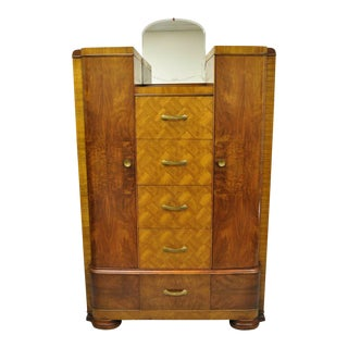 Art Deco Waterfall Chest Dresser Armoire by Tri-Bond For Sale
