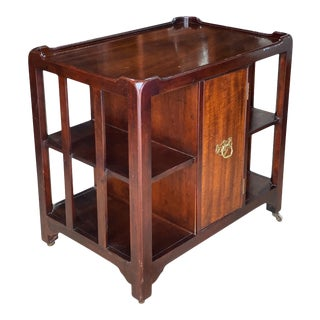 Vintage Chippendale Style Cherry Tv Cart Side Table For Sale