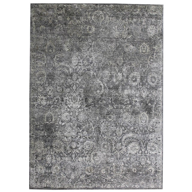 Textile Bryant Gray/Charcoal hand knotted Wool/Viscose/Cotton Rug - 8'x10' For Sale - Image 7 of 7