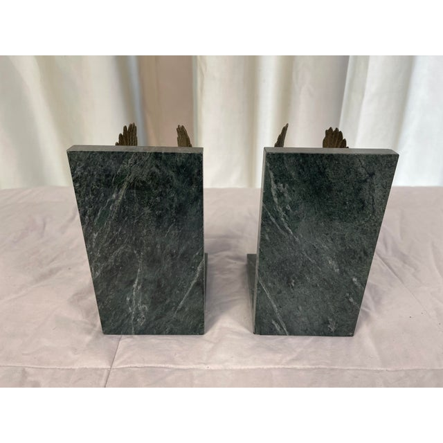 Mid 20th Century Marble & Brass Eagle Bookends - a Pair For Sale - Image 4 of 8