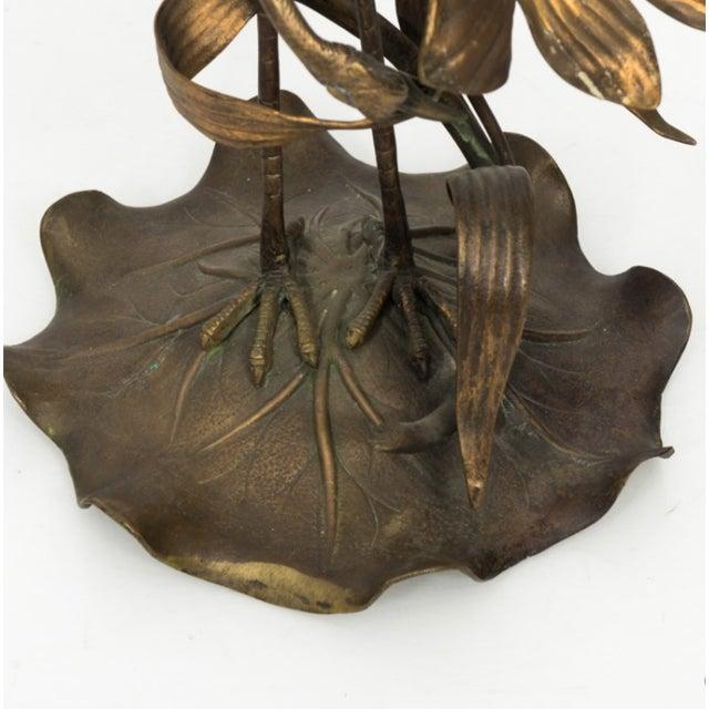 Metal Brass Crane Lamp Circa 1910 For Sale - Image 7 of 8