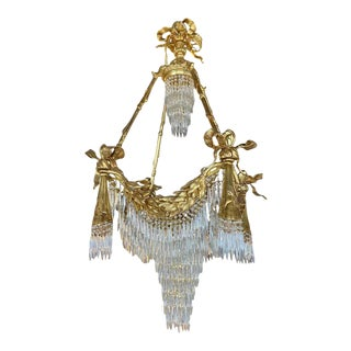 Bronze Louis XVI Style Chandelier Crystal Ribbon and Tassel Drapery Form For Sale