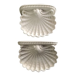 Italian Shell Cartouche Wall Brackets - a Pair For Sale
