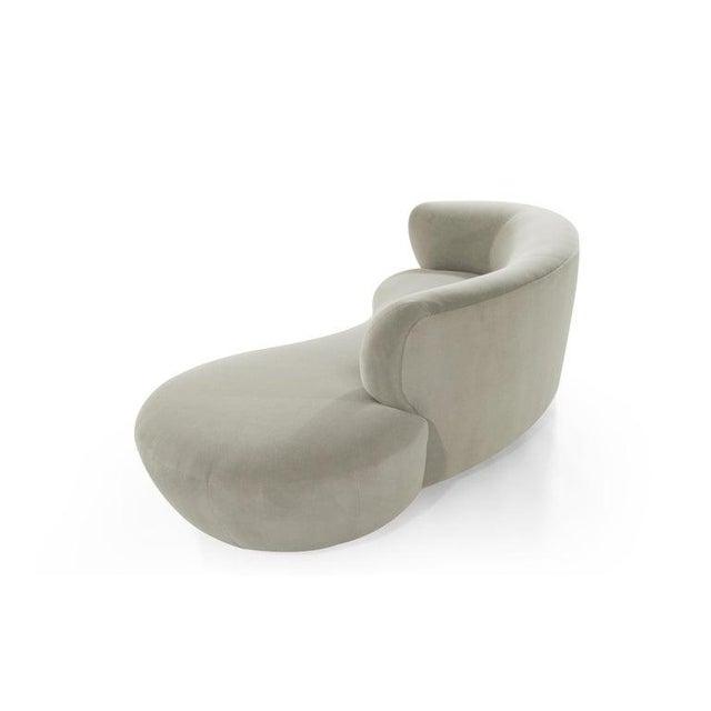 Wood Curved Sofa in Alpaca Velvet by Vladimir Kagan For Sale - Image 7 of 13