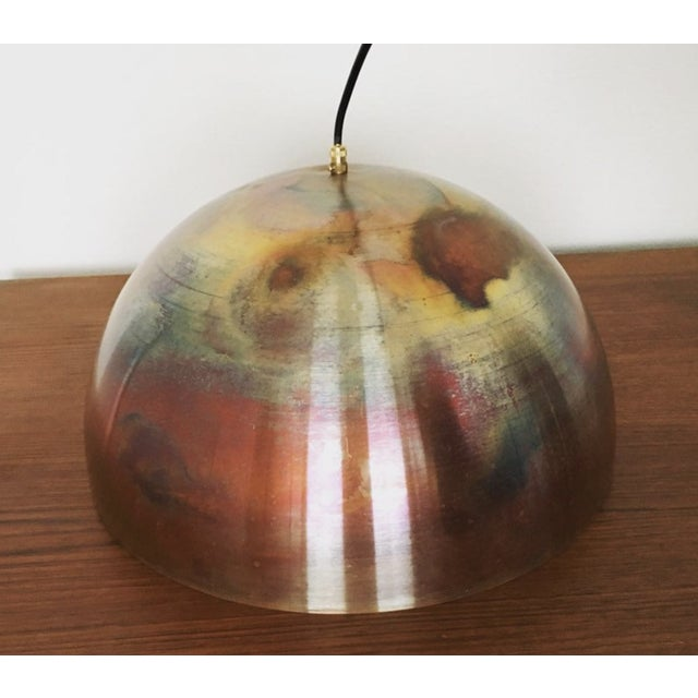 1960s Mid-Century Modern Patinated Copper Dome Pendant Lamp by Beisl For Sale - Image 5 of 9