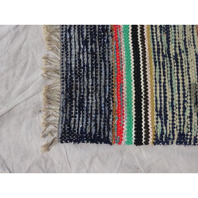 Boho Chic Swedish Hand Woven Rag Rug - 2′7″ × 7′6″ For Sale - Image 3 of 3