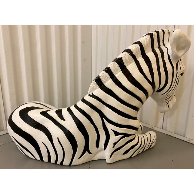 Large vintage black and white painted decorative ceramic Zebra floor statue, unsigned. Vintage wear and marks.