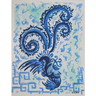 Chinoiserie Painting, Peacock in Blue by Cleo For Sale