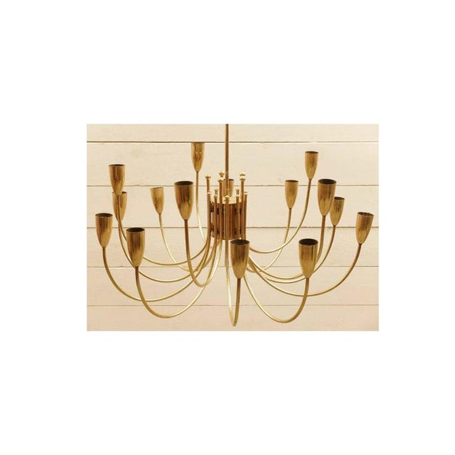 Art Deco Two Pairs of 1970s Brass Chandeliers For Sale - Image 3 of 6