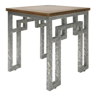 Modern Farmhouse Style Zinc and Wood Side Table For Sale