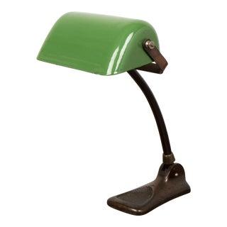 Danish Art Nouveau Green Enamel Banker's Desk Lamp by Lux For Sale